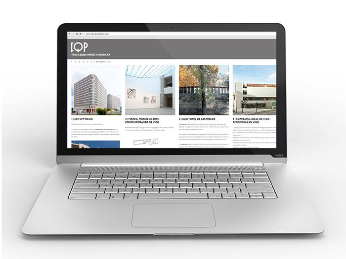 Web FQP Arquitectos en laptop
