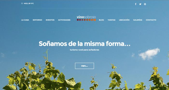 Plantexamento web Vinosobroso, casa de turismo rural en Mondariz