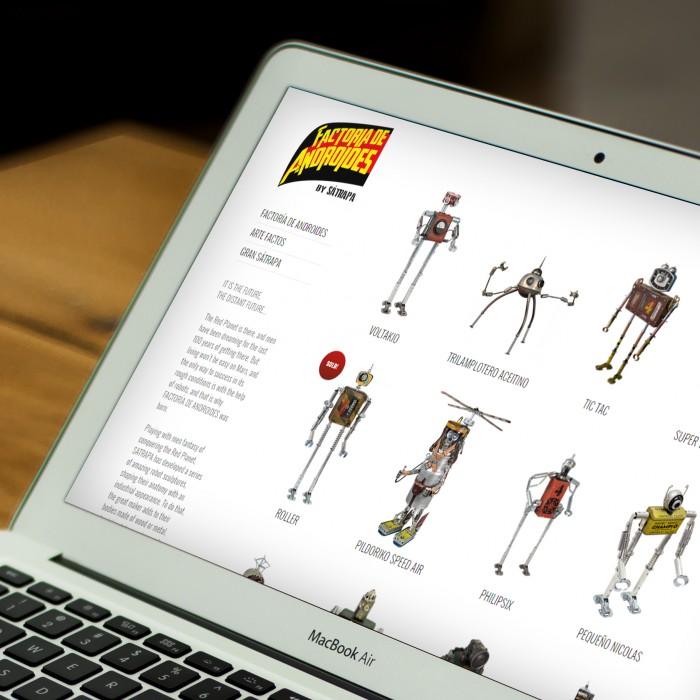 Web Sátrapa/Factoría de Androides en laptop
