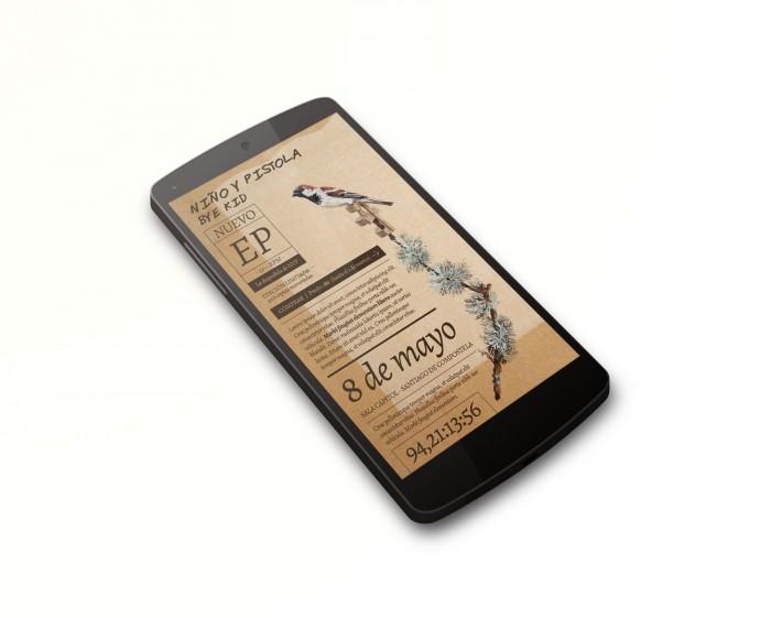 Web Niño y Pistola - Bye Kid en smartphone