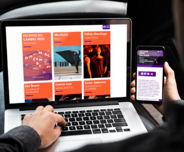 Web Escenas do Cambio 2020 en laptop e smarthpone